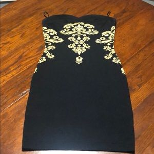 Bebe Black Dress Bodycon Mini Gold Accent Sz Small